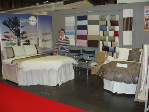 Freedom Is caravan and motorhome bed linen stand at the National Motorhome Show 2013